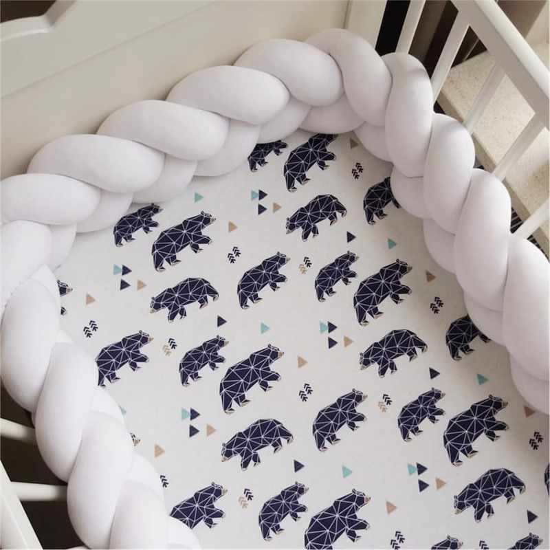 Nordic 1M/2M/3M Baby Bed Bumper Crib Cot Bumper for Infant Boys Girls Baby Bumper Knot Braid Crib Protector Room Decor