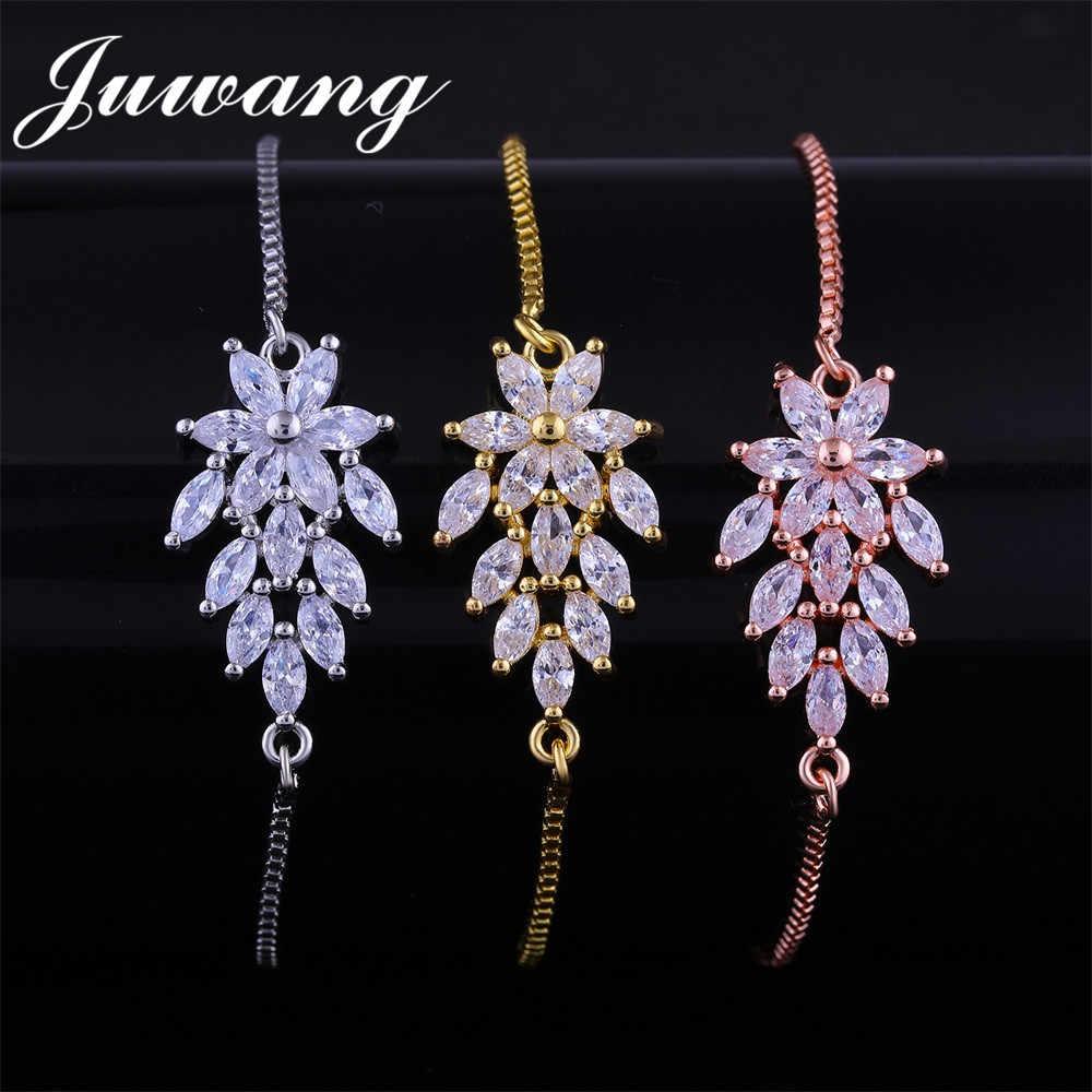 JUWANG 1 шт. оптовая продажа завод цветок браслеты и браслеты для женщин Девушка Серебряный цвет браслет с AAA кубического циркония вечерние подарок