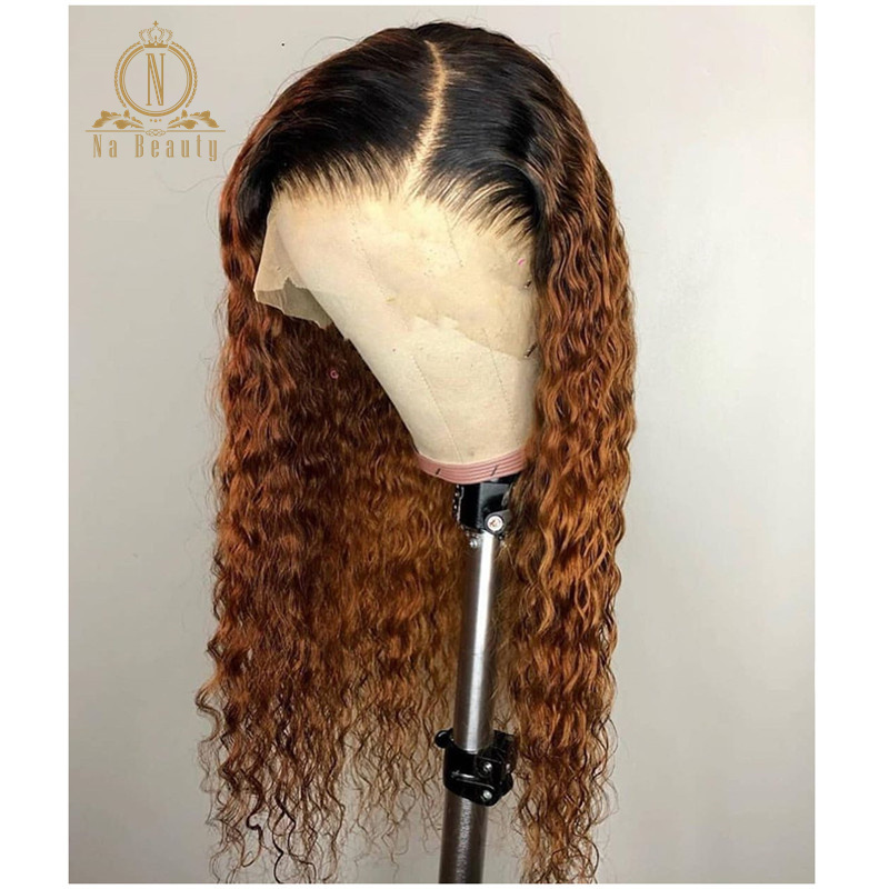 250 Density 13x6 Lace Front Human Hair Wigs 1b 30 Color Lace Front Ombre Curly Wig For Women Glueless Preplucked Black Remy Hair