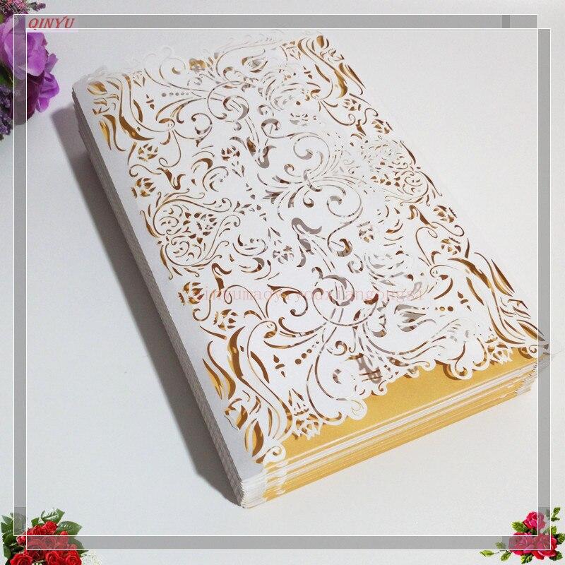 100 sztuk pionowe laserowo wycinane biały zaproszenia karty zestawy na ślub dla nowożeńców Shower urodziny 7Z w Kartki i zaproszenia od Dom i ogród na  Grupa 1