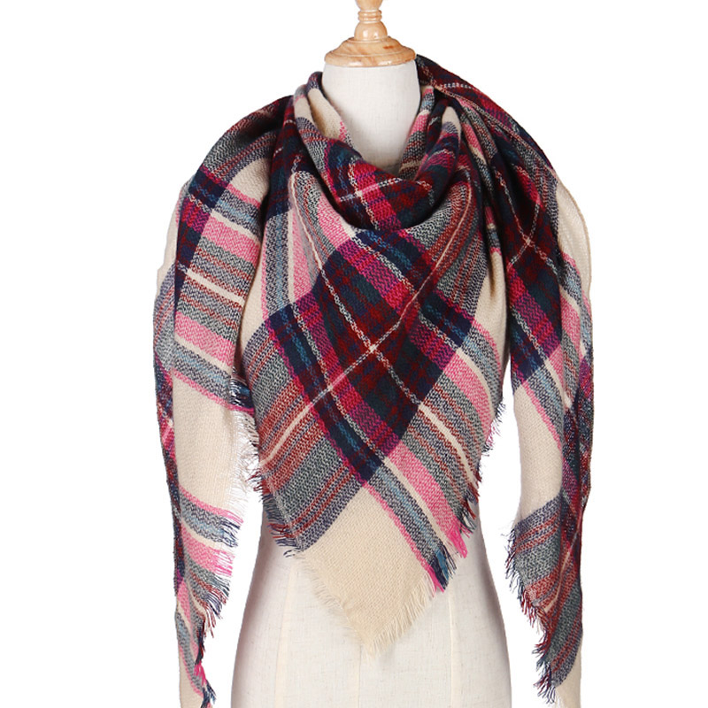 2019 New Winter Triangle   Scarf   For Women Plaid Warm Cashmere   Scarves   Female Shawls Pashmina Lady Bandana   Wraps