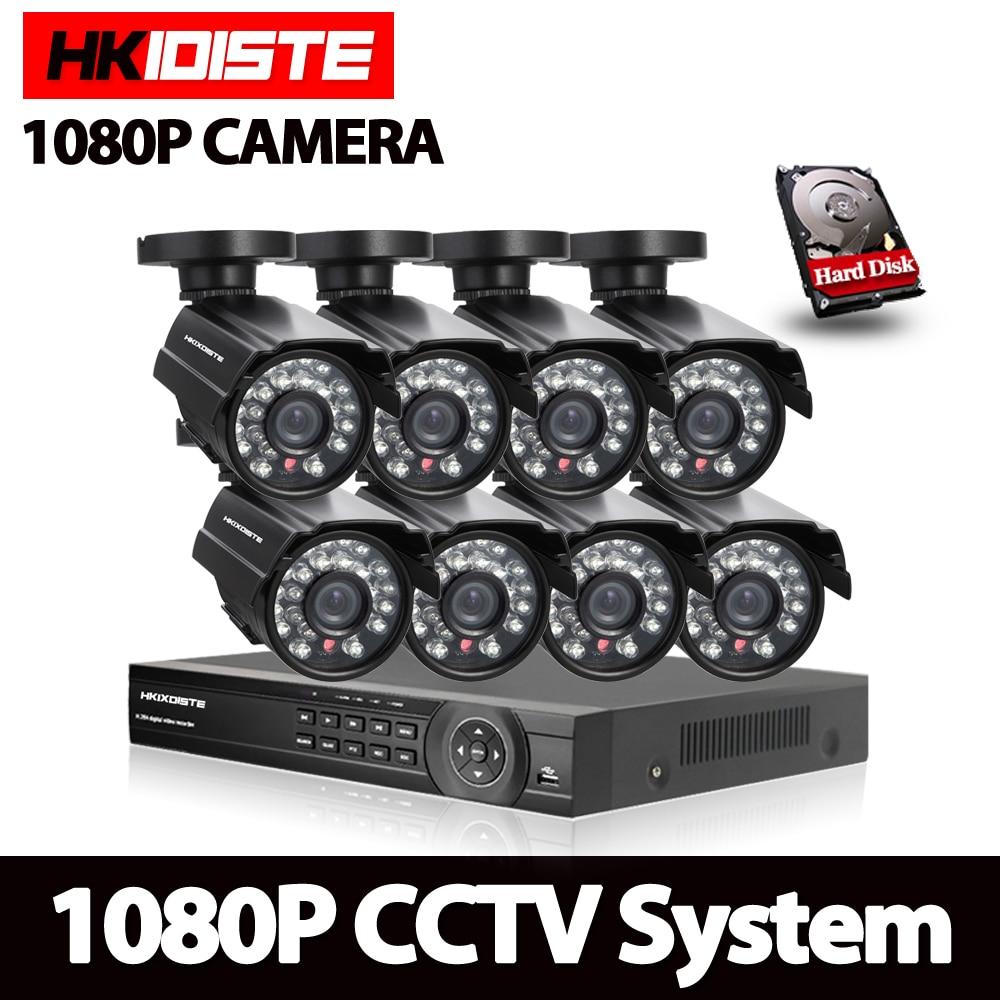 CCTV System Video surveillance kit 8x2Mp SONY322 AHD 1080P Waterproof Security Camera 8Channel HDMI 1080P DVR NVR TVI CVI set