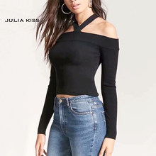 Vrouwen Halter Slash Hals Off Shoulder Knit Top Choker Hals Lange mouw Trui Choker Breien Crop Top(China)