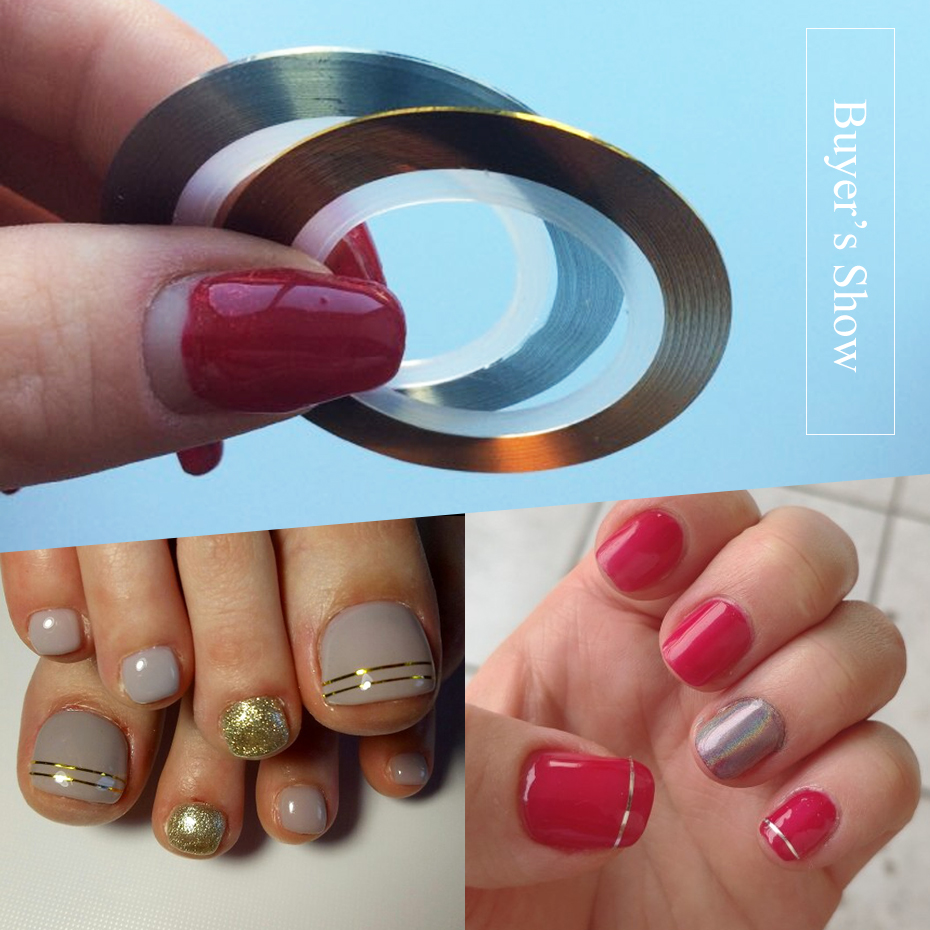 0.5mm Gold Silver Striping Sticker Holographic 3D Strips Liner Tape Adhesive Super Fine Nail Art Polish Decorations LY1009-1 (7)