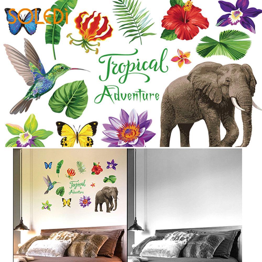 Wall Stickers Wall Decal 50 70cm Mural Art Wallpaper Jungle Adventure Tropical Elephants Creative 50 70cm Doors Windows Decor in Wall Stickers from Home Garden