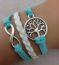 1pcs Infinity bracelet - tree ,antique silver,for girls,charm ,leather 746 min order 10$(China)