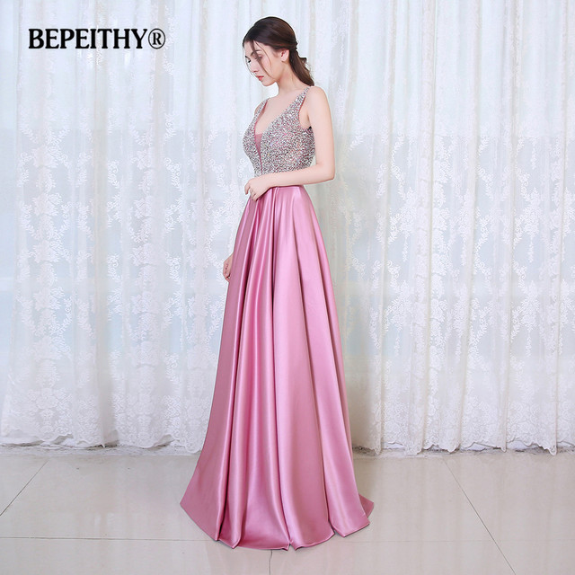 BEPEITHY V-Neck Beads Bodice Open Back A Line Long Evening Dress Party Elegant Vestido De Festa Fast Shipping Prom Gowns 3