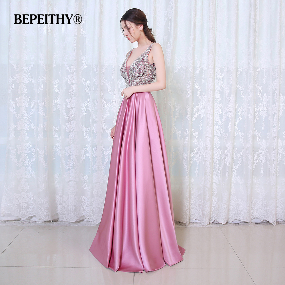 Bepeithy v-cuello Cuentas blusa espalda abierta una línea vestido de ...