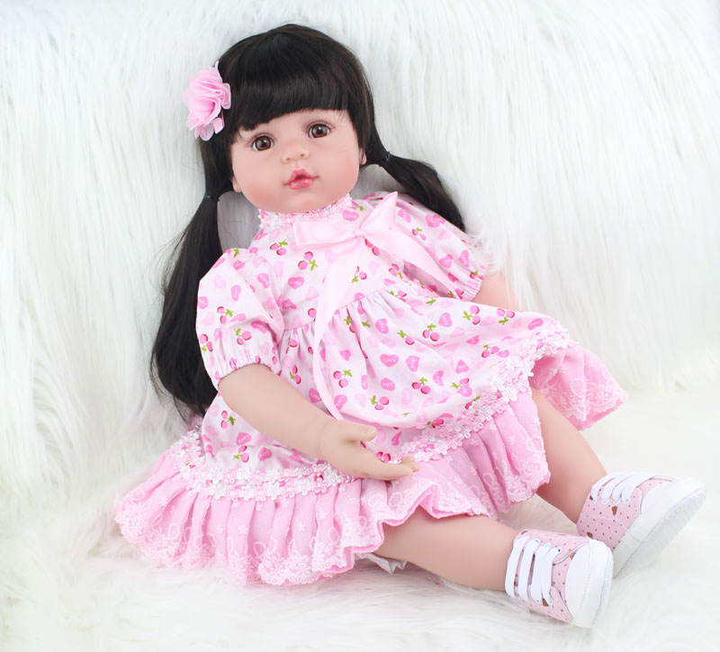 55cm Silicone reborn baby doll toy like real 22inch vinyl princess babies girl doll birthday gift present bedtime play house toy цена
