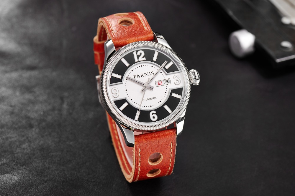 New Fashion 42mm Parnis Sapphire Stainless Steel Case Japan Automatic Movement Men WristWatch free shipping