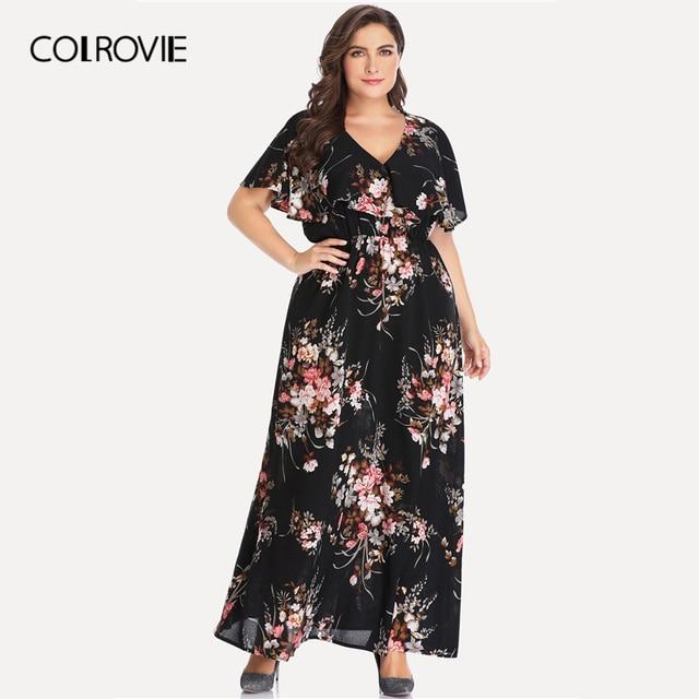 afc556643a7 COLROVIE Plus Size Black Floral Print V-Neck Casual Dress Women 2019 Summer  Short Sleeve A Line High Waist Trapeze Maxi Dresses
