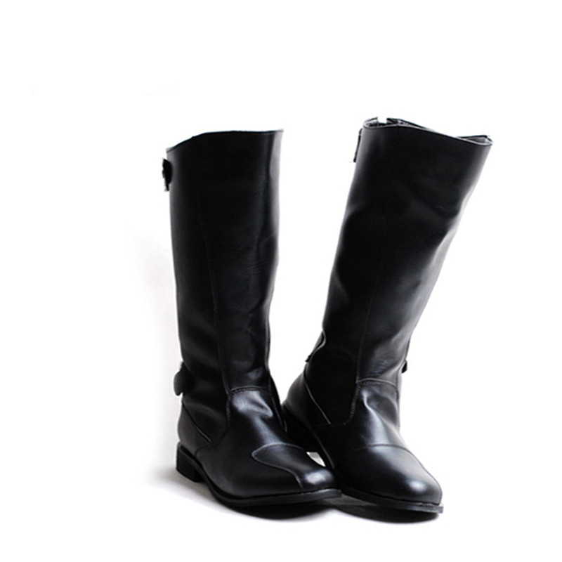 2017 New Korean Fashion PU Leather Men Boots Knee High Warm Zipper Boots Men Personality Black Motorcycle Handsome Botas