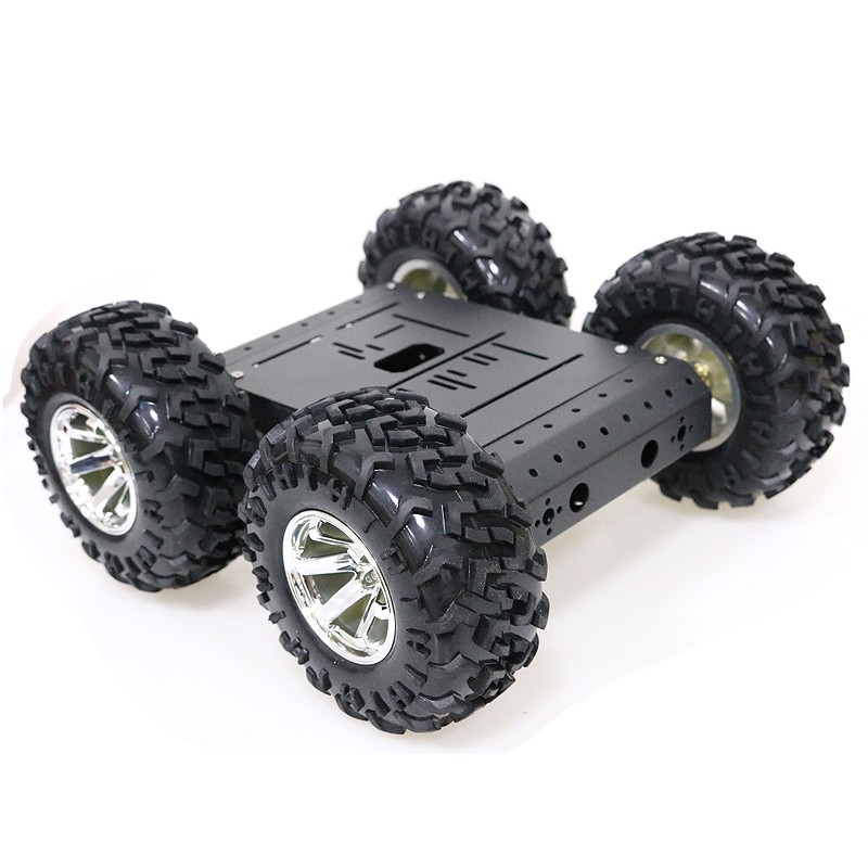 4WD Smart Robot RC Car Chassis Kit Aluminum Alloy Black Wheels + 12V Motors without Encoder C3  - buy with discount
