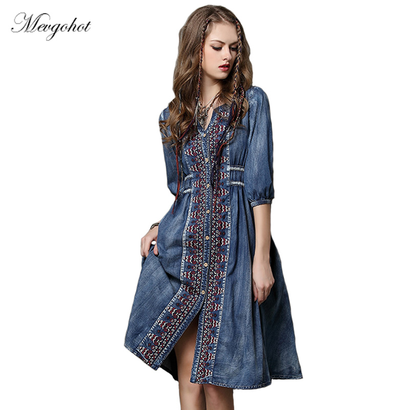 fca7fd663fd Women Bottons Bohemian Vintage Embroidery Jeans Dress Boho Loose Pleated  Bowknot Sashes Long Floral Denim Summer Dress HCH405