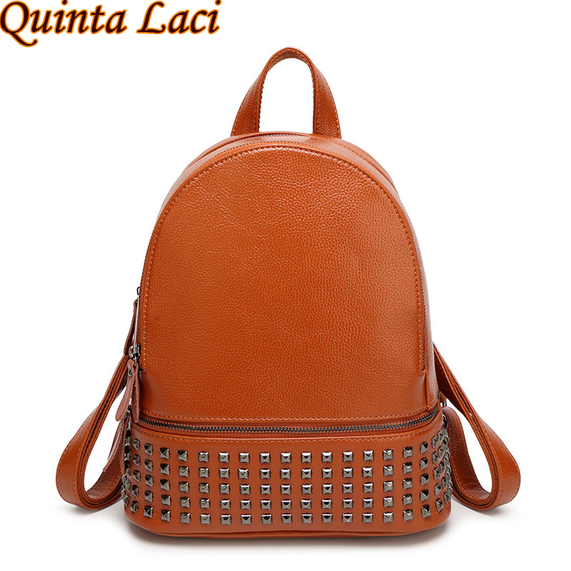 Quinta Laci Women Backpack 2017 New European Style Fashion All-match Cow Leather Bags Body PU Rivet Double Higher Backpack beyerdynamic quinta mu 23