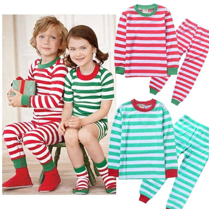 Children Autumn Pajamas Kids Christmas Gift Shirt Long Sleeves Suit Striped Plaid Cotton Sleepwear For Baby Girls Boys 3-10T