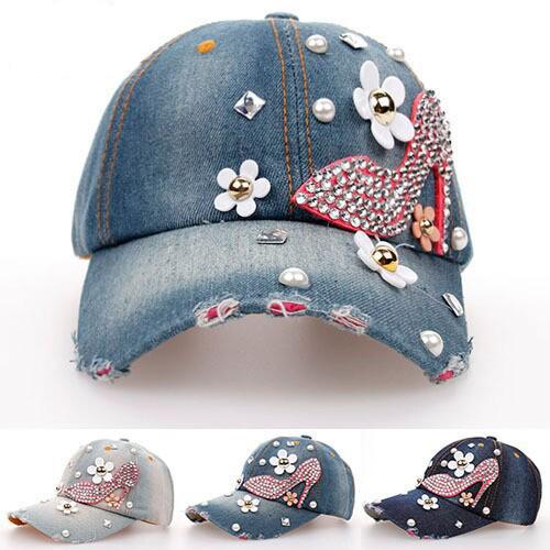 2015 Sweet hot drilling high heels girls fashion Outdoors adjustable Hat  Stick to drill the denim baseball cap Heels pattern hat - Baseball High Heels Promotion-Shop For Promotional Baseball High