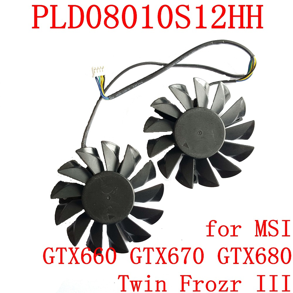 NEW POWER LOGIC PLD08010S12HH 74mm 52mm 12V 0.35A 4Pin for MSI GTX660 GTX670 GTX680 Twin Frozr III  graphics card fan free shipping 2pcs lot pld08010s12hh dc 12v 0 35a 75mm dual fans replacement video card fan msi twin frozr iii 4pin
