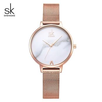 цена Shengke Creative Marble Dial Watches Women Luxury Stainless Steel Quartz Watch Reloj Mujer 2019 SK Women Wrist Watch #K0039 онлайн в 2017 году