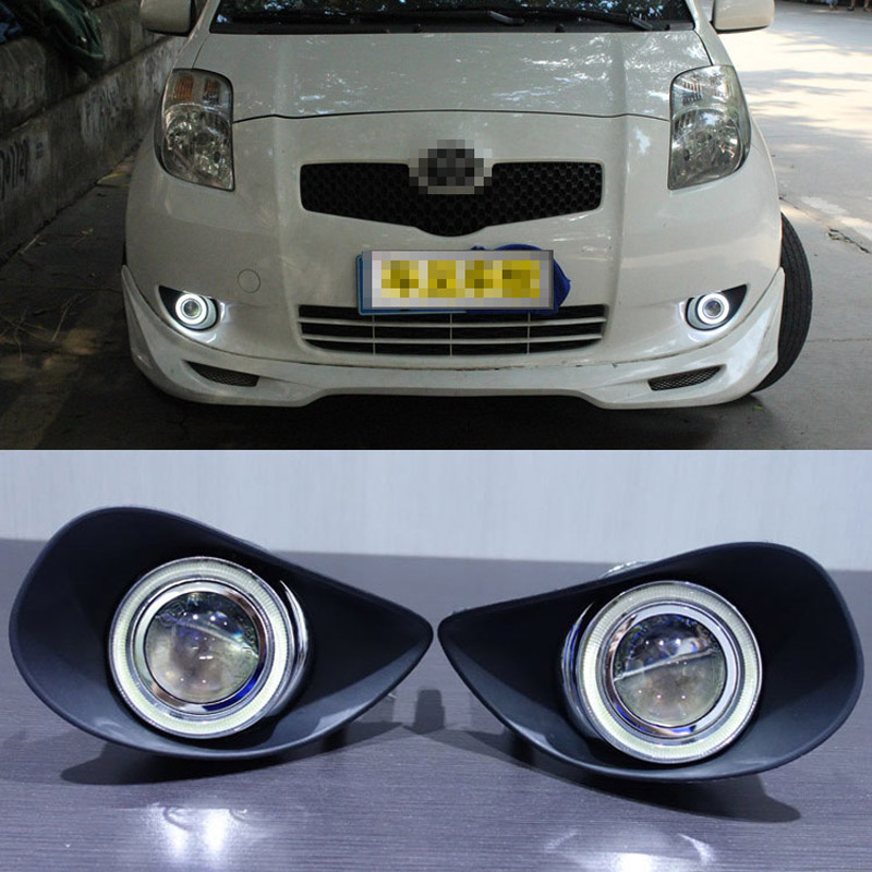 Ownsun COB Angel Eye Rings Projector Lens with 3000K Halogen Lamp Source  Black Fog Lights Bumper Cover For Toyota Yaris 2007-09 ae1ba150fa92