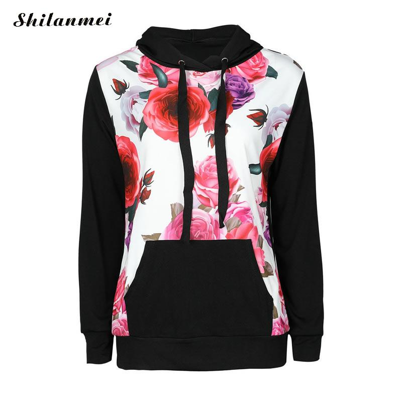 New Winter Fashion Women Floral Print Autumn Spring Jumper Women Long Sleeve Top Hoodies pink Sweatshirts Hooded Outerwear 4