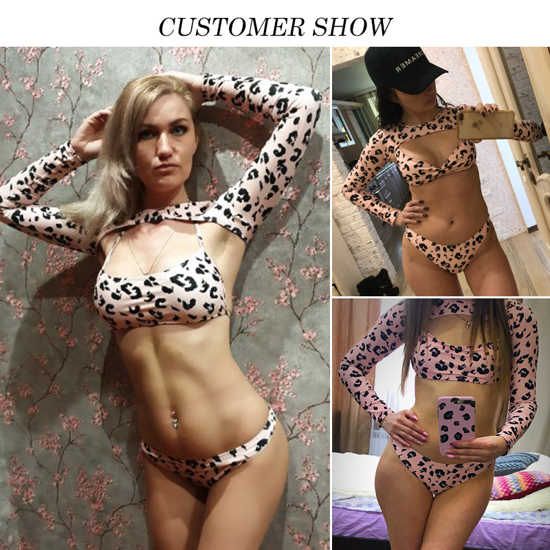Sexy Leopard Printed Long Sleeve Bikini 2019 Mujer High Cut Swimsuit Push Up Swimwear Women Bathing Suit Two Piece Swim Suit BR in Bikinis Set from Sports Entertainment