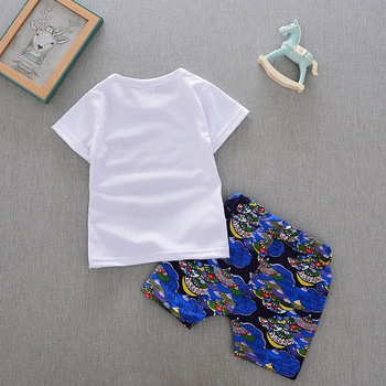 2018 Baby clothing sets short-sleeved round neck cartoon owl t-shirt+ shorts children's cotton sets