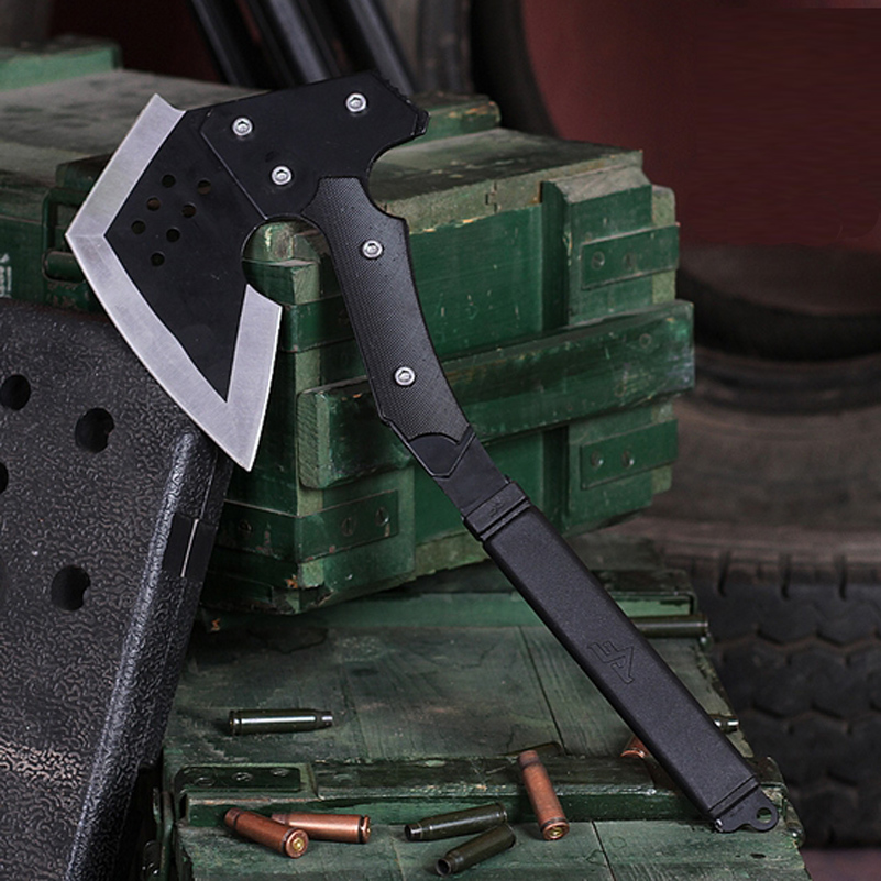 CS Tomahawk Felling Axe 39 8cm Full Black 420 Steel 57HRC High Hardness Camping Meat Chopper
