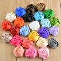 50 pçs/lote 4 CM 25 cores em estoque de cetim roseta flores de cabelo para bebê meninas acessórios para o cabelo headband da flor
