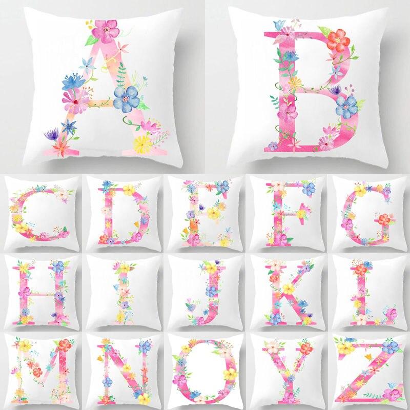 Flower Letter Alphabet Decorative Cushion Cover Pillow Pillowcase Polyester 45*45 Throw Pillows Home Decor Pillowcover 40842