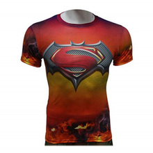 Marvel Compression Running Clothes Polyester breathable summer Men Outdoor Sports Tights T shirt free shipping