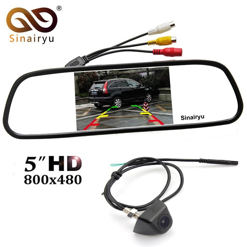 Sinairyu 5 pouce Couleur TFT LCD Rétroviseur Parking Moniteur + Étanche En Métal Corps Avant/Arrière Vue Caméra Parking Caméra
