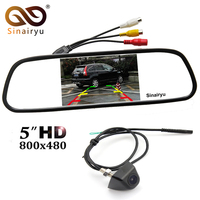 MJDXL 5 Inch Color TFT LCD Rear View Mirror Parking Monitor Waterproof Metal Body Front Rear