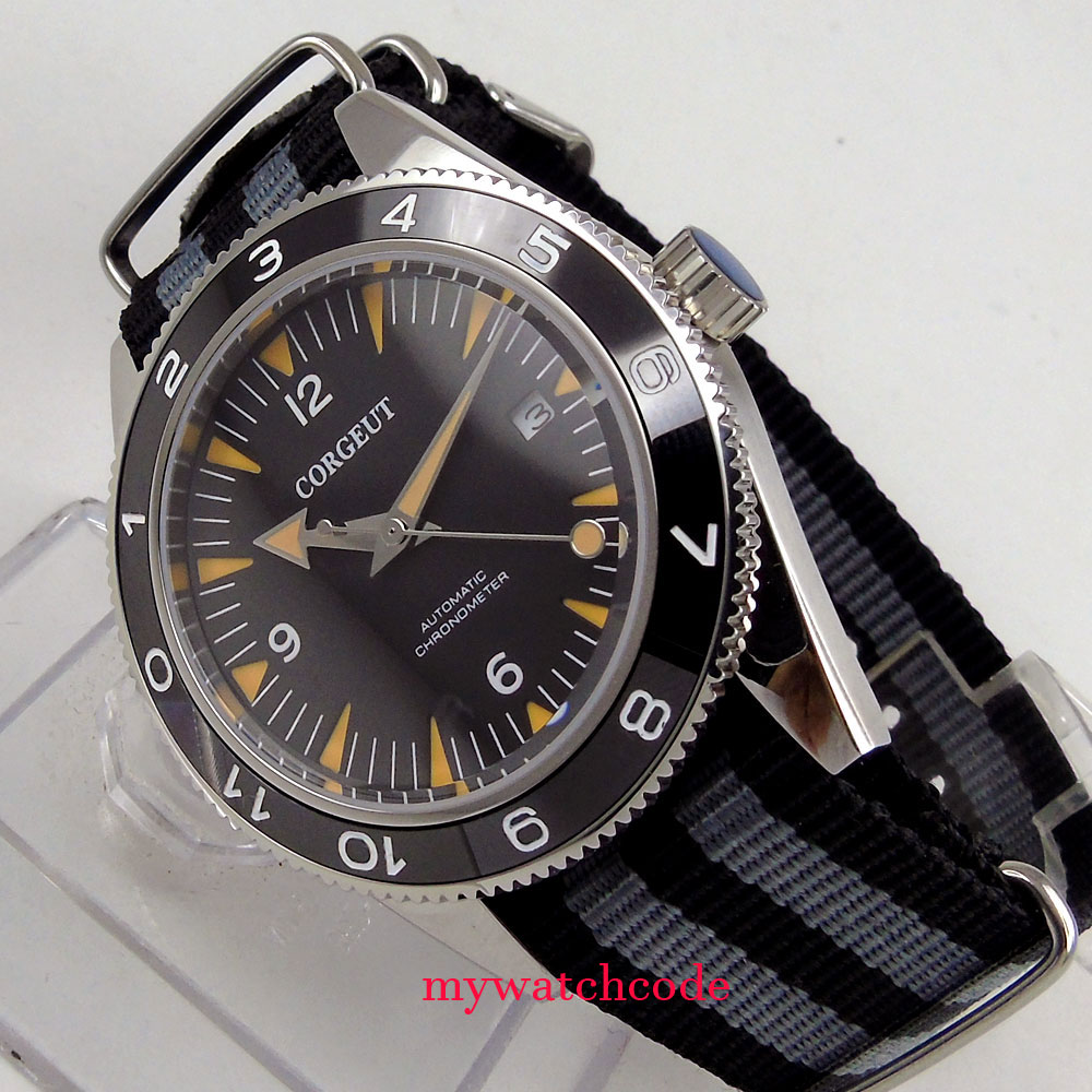 41mm corgeut sandwich black dial sapphire glass 821A miyota Automatic mens Watch 13B polisehd 41mm corgeut black dial sapphire glass miyota automatic mens watch c102