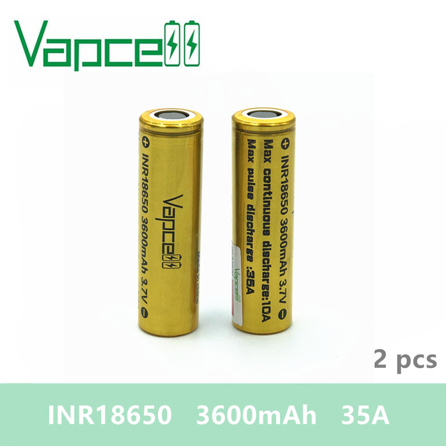 Free shipping 2pcs VAPCELL 18650 3600mAh 35A 3.7V rechargeable HIGH POWER lithium battery vs keeppower smoke E CIG