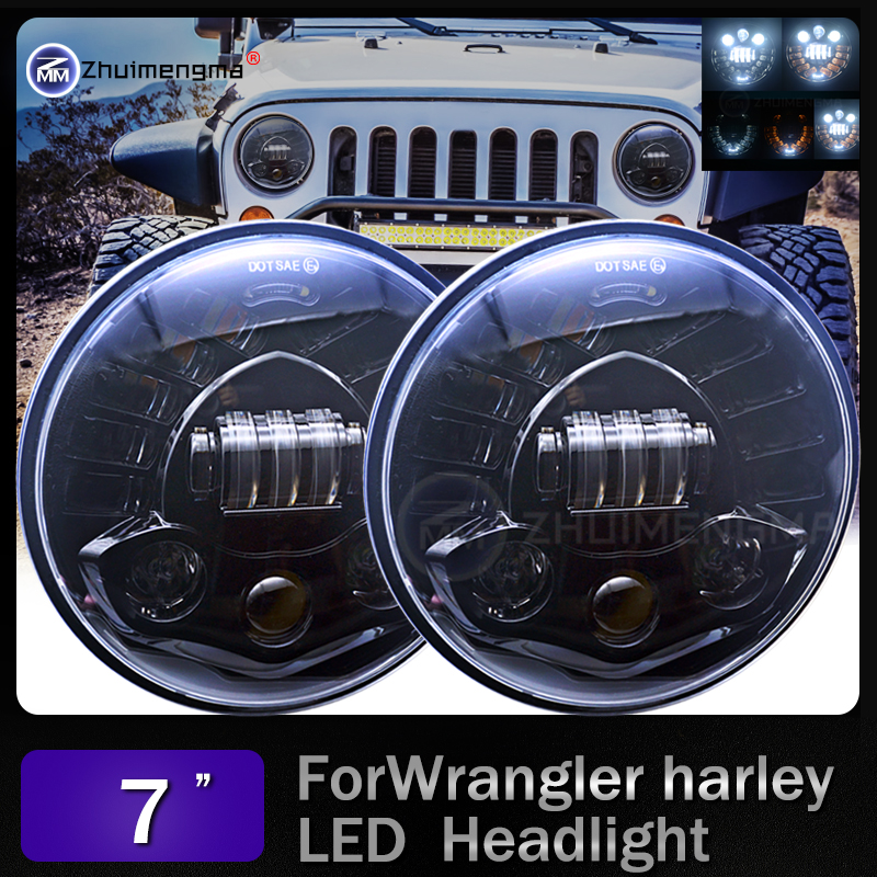 For Nissan Patrol Y60 Hummer H1&H2 7inch Round LED Headlight For Jeep Wrangler TJ JK LJ CJ 7inch Led For Land Rover Defender 2 pcs chrome 7inch projector headlight dot approve 7 105w daytime running lights for land rover defender 90 110 jk jeep
