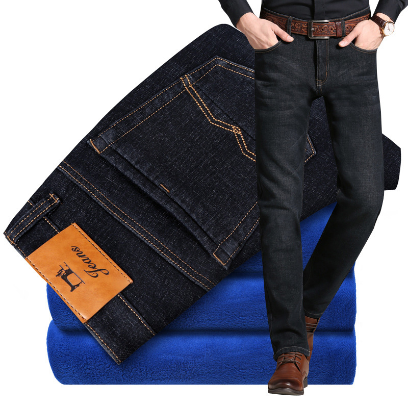 2018 Winter   Jeans   Men Black Elastic Thick Velvet Warm   Jeans   For Men Fashion Smart Plush Pants Big Size 40 42 Fleece   Jeans   Homme