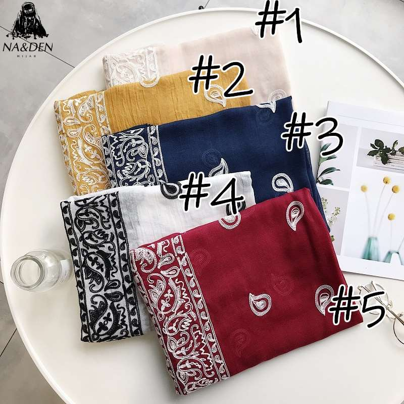 Luxury Solid print viscose scarf embroider design scarves muslim women hijab warp fashion shawl bandana 10pcs