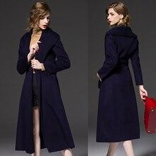 Casaco feminino 2017 ROYAUME-UNI Femmes Plus La taille Automne Hiver Cassic Simple De Laine Maxi Long Manteau Femelle Robe Survêtement manteau femme