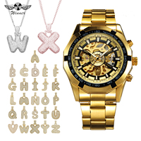 WINNER HIP HOP Watch Jewelry Set Golden Auto Mechanical Mens Watches Top Brand Luxury + Iced Out 26 Alphabet Rose Gold Necklace