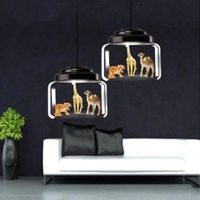 Factory direct Nordic restaurant glass chandelier cafe kindergarten classroom personality creative cartoon animal chandelier