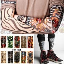 M-theory 10 pcs Sleeve Arm 3D Tattoo Biker Stockings Leggings Elastic Henna Temporary Flash Tatoo Body Arts Makeup Tools