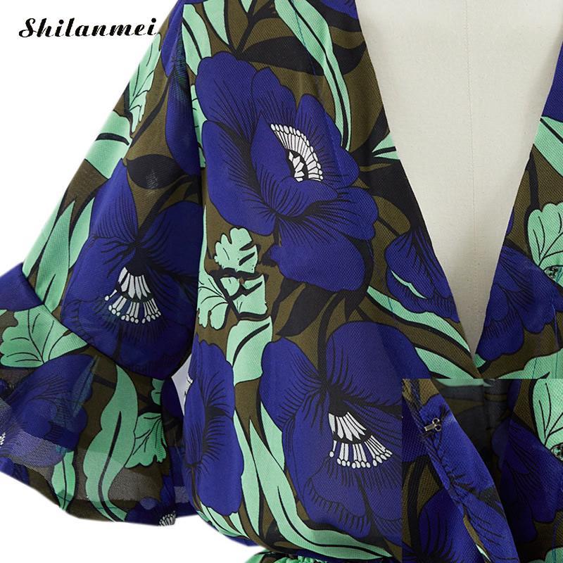 2018 Summer Chiffon Bohemian Romper Plus Size Vintage Floral Print Bodysuit Summer Boho WomenS Summer Overalls 5xl 4xl 3xl