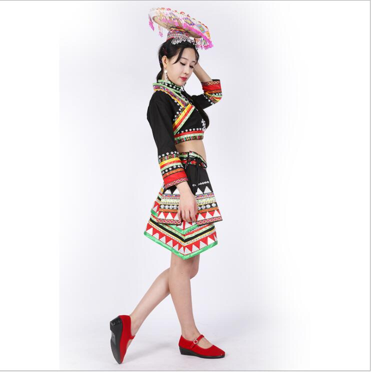 China Laos Thailand ethnic minority Outfit Dai Traditional Suits Hat + Top Jacket + Skirt Yun Nan Dai Nationality Dance Costume
