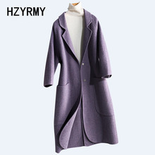 HZYRMY Autumn New Women Cashmere Double-Faced Woolen coat Solid color Large size Winter Warm Thick Wool Fabric Female Long Coat