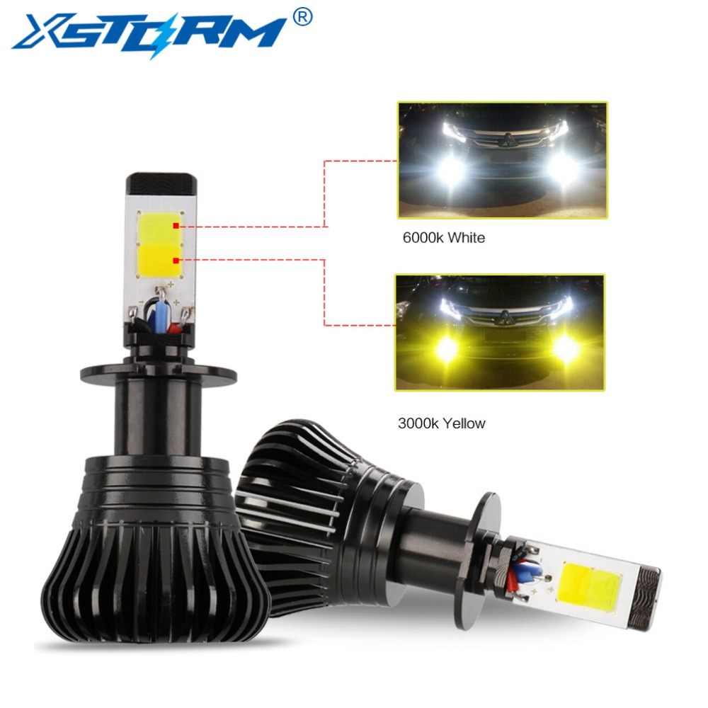 2x 9005 HB3 9145 H10 24W 2400LM LED Fog Driving Light Bulb Amber White Ice Blue