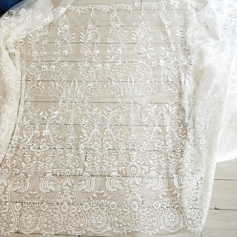 Image 4 - Free Shipping Imports White Sequins Embroidered Mesh Lace Fabric,  Lace Wedding Dress Fashion Wedding Decoration Fabric RS1110Fabric   -