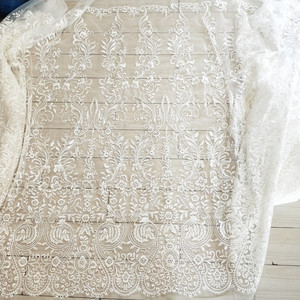 Image 4 - Free Shipping Imports White Sequins Embroidered Mesh Lace Fabric, Lace Wedding Dress Fashion Wedding Decoration Fabric RS1110