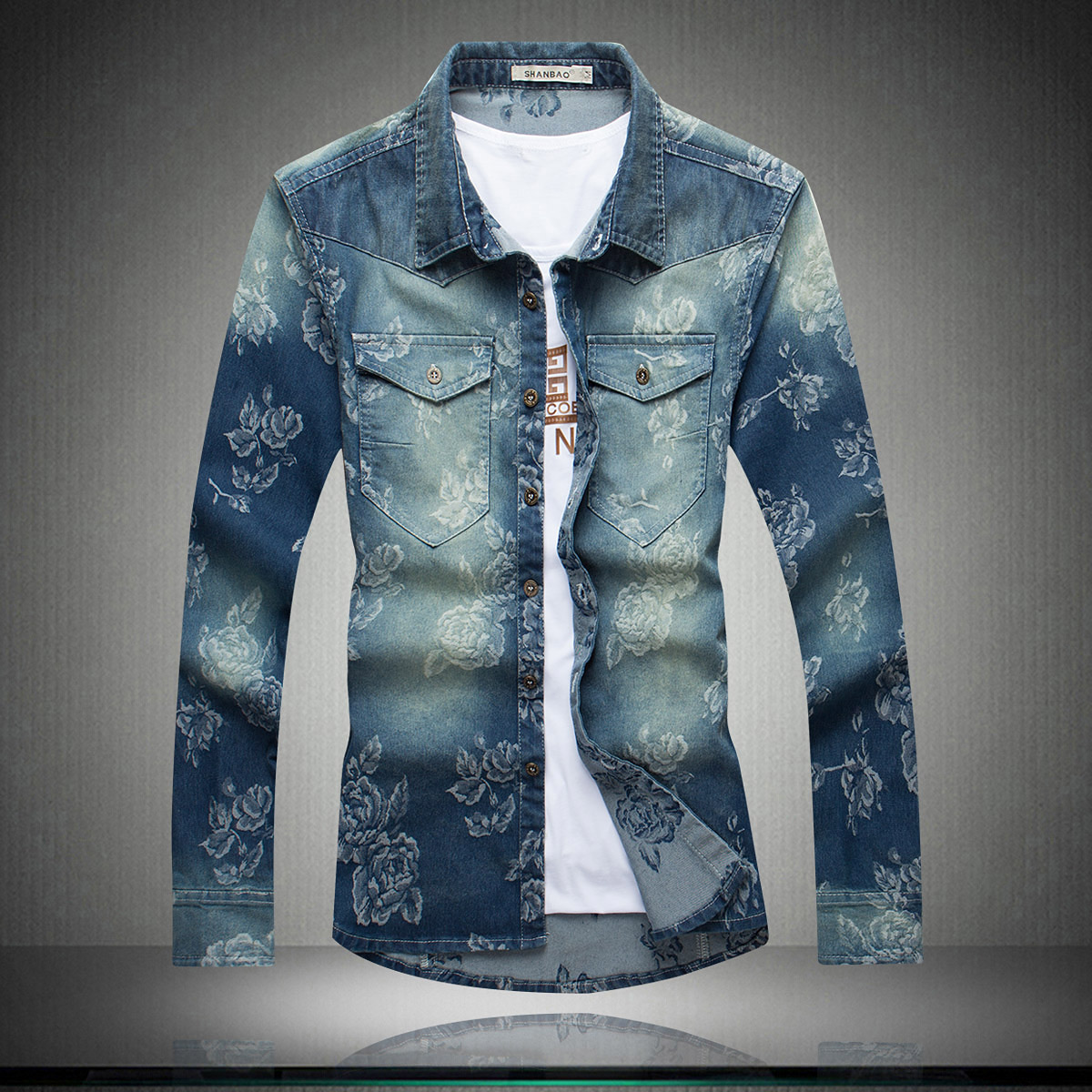 The new font b men s b font fashion casual long sleeved denim font b shirt