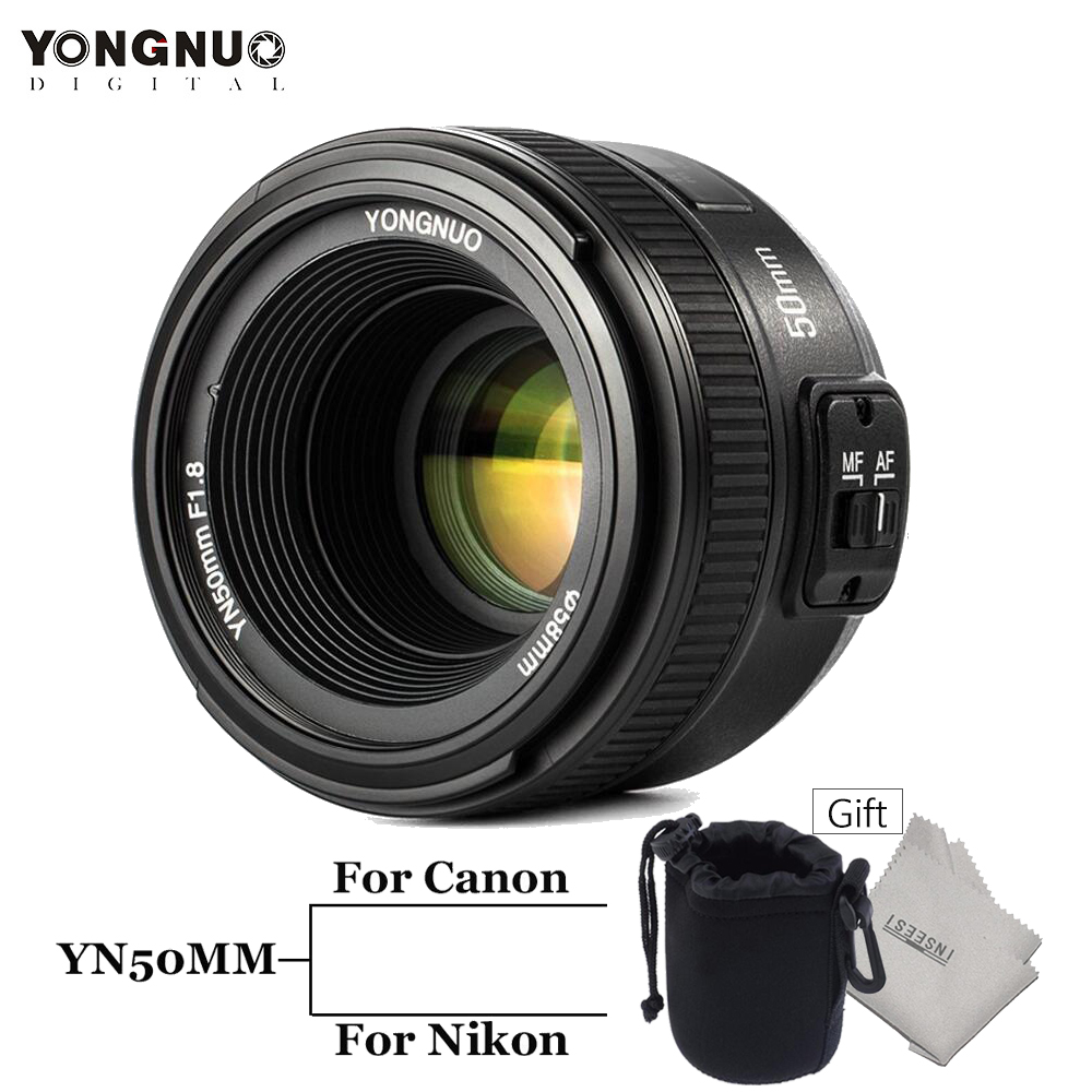 YONGNUO YN50MM F/1.8 Standard Prime Lens Large Aperture Auto Manual Focus  AF/MF for Canon 6D 5D Mark II EOS Or Nikon D3200 D300